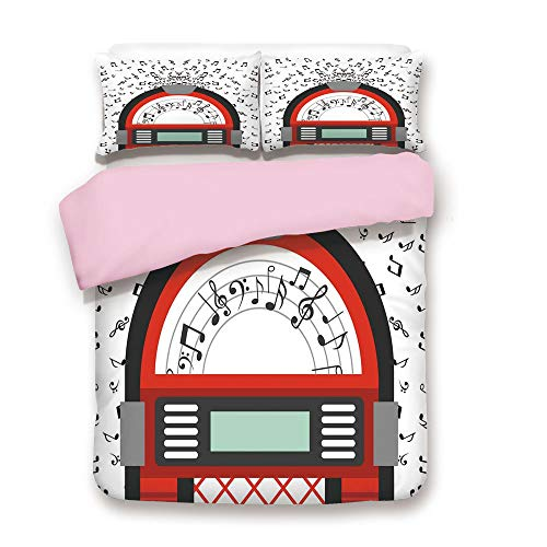 Pink Duvet Cover Set/FULL Size/Cartoon Party Music Antique Old Vintage Retro Box with Notes Artwork/Decorative 3 Piece Bedding Set with 2 Pillow Sham/Best Gift For Girls Women/Red Black Grey and White ()