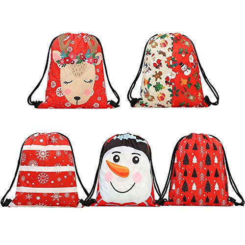 iShyan Christmas Drawstring Gift Bags, 5 Pack Santa for sale  Delivered anywhere in USA
