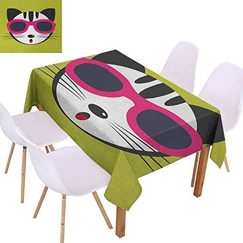 - UHOO2018 Animal,Microfiber Tablecloth,Cute Kitten Wearing Pink Sun Glasses Cool Modern Hipster Cat Fashion Fun Pets Art Print,Waterproof and Spillproof,Multi,60