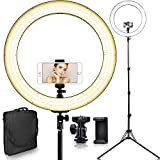[Updated 720LED LCD Display] 18 Inch Led Ring Light w/Stand for Camera iPhone, 3200-5600K Dimmable Warm/White Video Light, USB Power Output, Camera Phone Holder & Carrying Case for Studio Makeup Liv