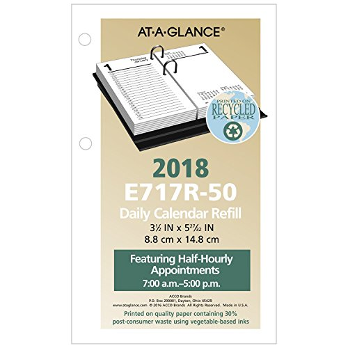 "AT-A-GLANCE Daily Desk Calendar Refill, January 2018 - December 2018, 3-1/2"" x 6"", Recycled, Loose Leaf (E717R50)"