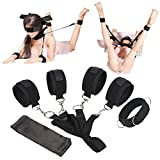 Proxoxo Bed Restraints Kit Sex Games Flirting Fetish Bondage with Handcuffs Ankle Cuff Bed Bondage and Satin Blindfold Wrist Thigh Leg Restraint System Novelty Gift for Couples