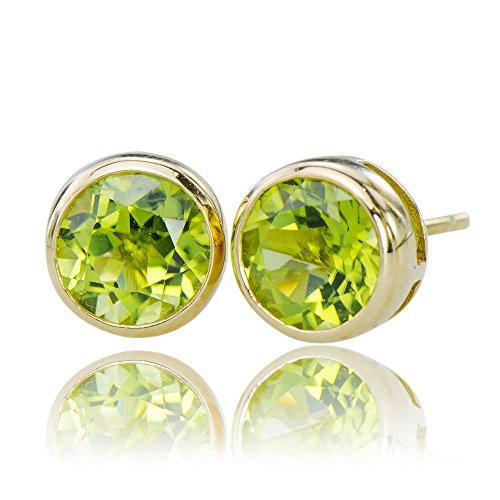 - Ravishing Natural Peridot Gemstones 10K Gold 5.35 cttw Post Stud Earrings