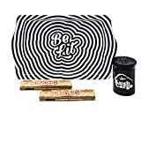 Bundle - 3 Items - Be Lit Rolling Tray Travel Size with RAW High Times Connoisseur Papers (Trippy Tray)