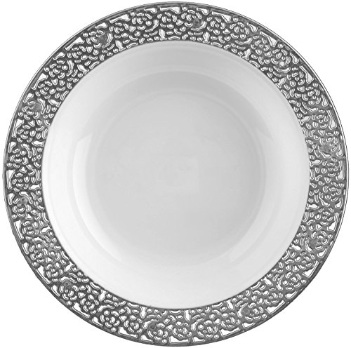 (Table To Go 'I Can't Believe It's Plastic' 200-Piece Plastic Bowl Set | Lace Collection | Heavy Duty Premium Plastic Plates for Wedding, Parties, Camping & More (Silver White))