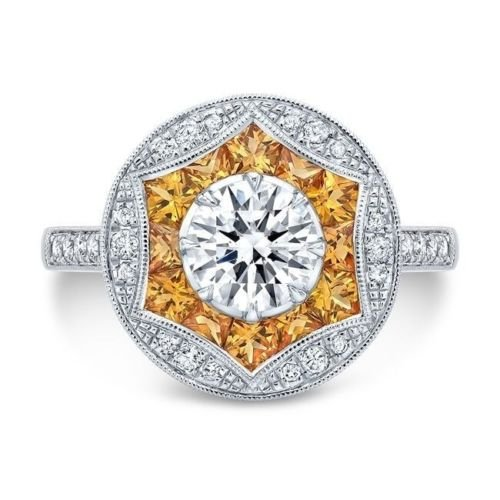 4.5 Ct Rose (Yupha 4.5ct White&Yellow Topaz 925 Silver Jewelry Engagement Wedding Ring Size 6-10 (10))