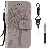 "Galaxy A5 (2017) Case, SsHhUu Premium PU Leather Folio Wallet Magnetic Stand Credit Card Slot Flip Protective Slim Cover Case + Stylus Pen + Lanyard for Samsung Galaxy A5 (2017) / A520F (5.2"") Gray"