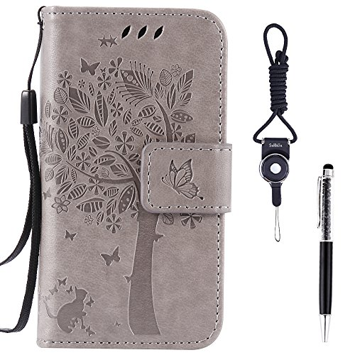"Galaxy A5 (2017) Case, SsHhUu Premium PU Leather Folio Wallet Magnetic Stand Credit Card Slot Flip Protective Slim Cover Case + Stylus Pen + Lanyard for Samsung Galaxy A5 (2017)/A520F (5.2"") Gray"