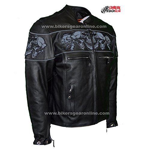 Dream Men's Motorcycle Riding Blk Reflective Skull Leather Jacket Big Sizes Upto 10xl (6XL Regular) by Dream (Image #2)'