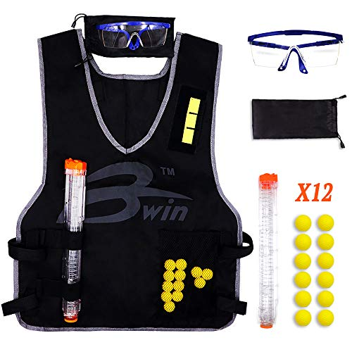 Armor Case Mag (DILIMI Kids Tactical Vest Kit with 12 Darts,12-Darts Quick Reload Clip,Protective Glasses for Nerf Rival Apollo Zeus Khaos Atlas Blasters Series)