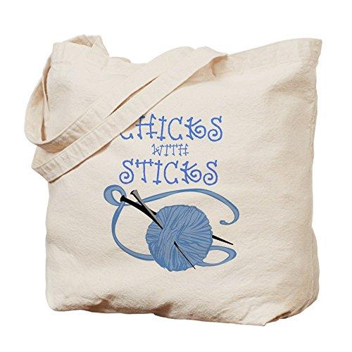 Cafepress–pulcini con bastoncini 2Tote bag–Borsa di tela naturale, tessuto in iuta