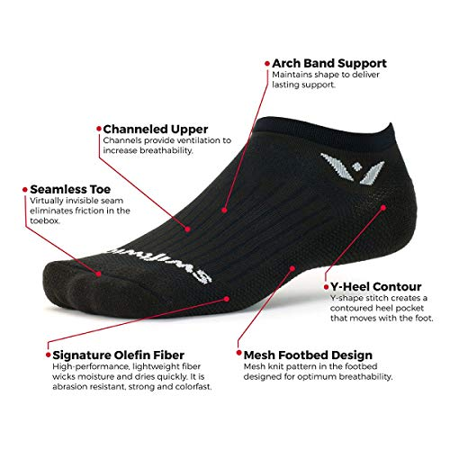Swiftwick- Aspire Zero | Socks Built for Running & Cycling | Fast Drying, Firm Compression No Show Socks