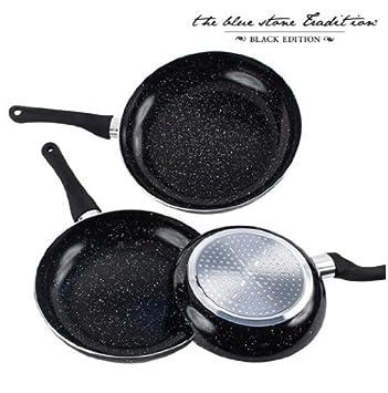 Sartenes Revestimiento Piedra Black Stone Pan (3 Piezas): Amazon.es ...