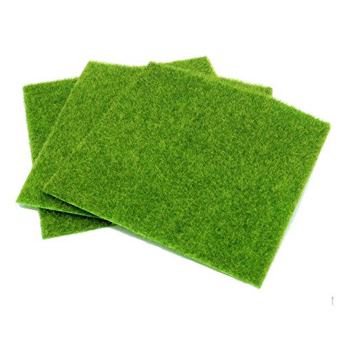 HUELE 3 PCSLife-like Fairy Artificial Grass Lawn 12''x 12'' Miniature Ornament Garden Dollhouse - Artificial Grass Mat