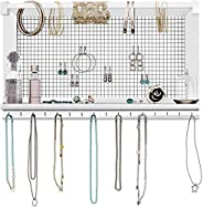 Rustic Jewelry Organizer – Wall Mounted Jewelry Holder Organizer with Removable Bracelet Rod and 16 Hooks – Pe