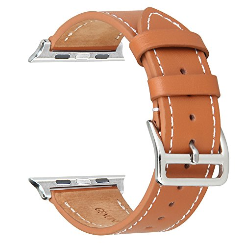 V-Moro Apple Watch Band 38mm Genuine Leather Smart Watch band Replacement With Adapter Metal Clasp for Apple Watch iWatch All Models (Single Tour 38mm Brown)