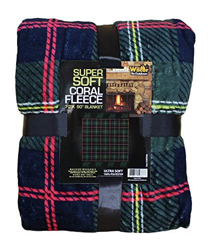 Adirondack Lodge Green Plaid with Bears Soft Coral Fleece Throw Blanket 70 x -