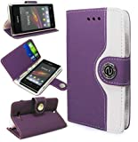 Magic Global Gadgets - Purple Retro Leather Flip Book Wallet Case Cover Pouch With Media Stand For Sony Xperia E With Screen Guard / Cleaning Cloth / Mini Stylus