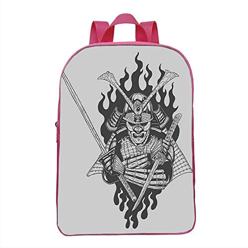 (Japanese Fashionable Backpack,Fearsome Ghost Ninja in Fire Oriental Mythology Spiritual Eastern Fighter Print for School Travel,One_Size)