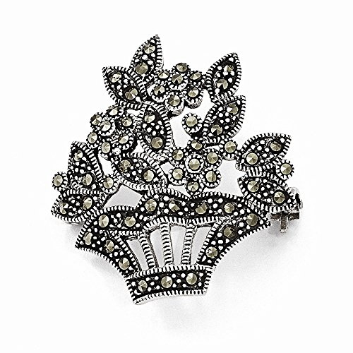 (Sterling Silver Marcasite Flower Pin)
