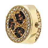 Gold Leopard Print Crystal Cover Ring Watch with Expansion Stretch Stainless Steel Band One Size Fits Most