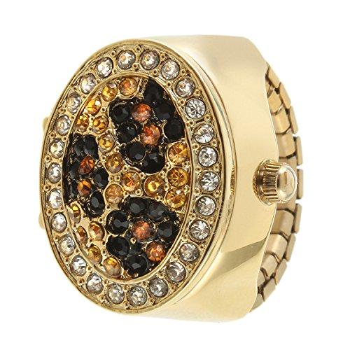 (Gold Leopard Print Crystal Cover Ring Watch with Expansion Stretch Stainless Steel Band One Size Fits Most)