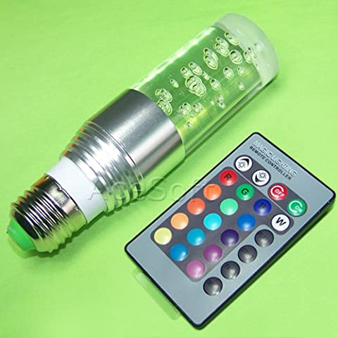 New Crystal Glass Cylinder RGB LED Bulb Light Changing Lamp 16 Colors 3W E27 + 24 Key Remote Controller For Party House Work (Remote Cylinder)