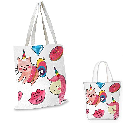 (Unicorn Cat fashion shopping tote bag Cute Fantastic Icons for Girls Magical Characters Mythological Mascots canvas bag shopping Pink Multicolor. 15