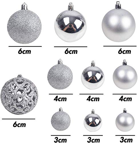 VGOODALL Christmas Tree Plastic Baubles, Christmas Tree Silver Baubles Ornaments for Xmas Party Hanging Decorations