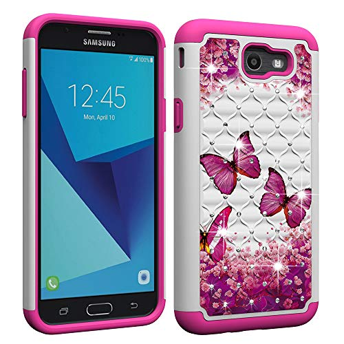 Berry Accessory Samsung Galaxy J7 Sky Pro Case,Galaxy J7 Prime/J7 V/Halo/J7 Perx/J7 2017 Luxury Glitter Sparkle Bling Case,Studded Rhinestone Crystal Hybrid Dual Layer Armor Case Pink Butterly
