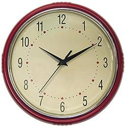 Geneva 9-1/2-Inch Plastic Diner Wall Clock, Red