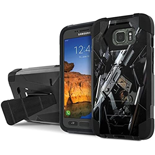 AT&T [Galaxy S7 Active] Armor Case [NakedShield] [Black/Black] Tough ShockProof [Kickstand] Phone Case - [Navy Sales
