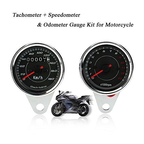 KKmoon Universal LED Motorrad 13000rpm Tacho + Tacho Tachometer Messgerät mit Halterung
