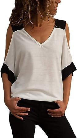 Camisas Verano Mujer Moda Anchos Casual Tops Shirt Espalda ...