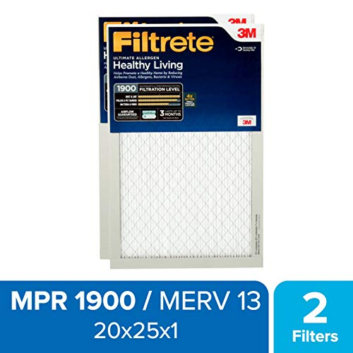 Filtrete 20x25x1, AC Furnace Air Filter, MPR 1900, Healthy Living Ultimate Allergen, 2-Pack