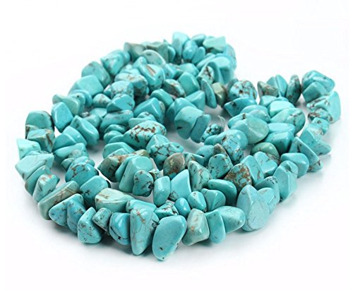 jennysun2010 Natural Gemstone 4-8mm Chip Beads 32'' - 35'' Blue Turquoise Hematite Turquoise Malachite Coral 1 Strand for Bracelet Necklace Earrings Jewelry Making Crafts Design Healing