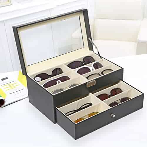 Deluxe Black 12 Compartment Eyewear & Sunglasses Display Case w/ Glass Lid, 1 Drawer & Leatherette Trim