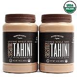 Pepperwood Organic Stone-Ground Whole Sesame Tahini Paste, Unhulled, Unsalted, Non-GMO, Gluten-Free, Kosher, Vegan, USDA Organic, Peanut-Free, 14 Ounce (2-Pack)