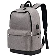 #LightningDeal Backpack, Water Resistant School Backpack with USB Charging Port for Women Men, Canvas College Student Rucksack Fits 15.6 Inch Laptop and Notebook, Daypack for Travel Outdoor Camping - Grey