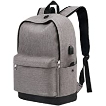 Backpack, Travel Water Resistant School Backpack with USB Charging Port for Women Men, Canvas...