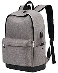 Backpack, Travel Water Resistant School Backpack with USB Charging Port for Women Men, Canvas College Student Bag Bookbag Fits 15.6 Inch Laptop and Notebook, Grey Rucksack Daypack for Outdoor Camping