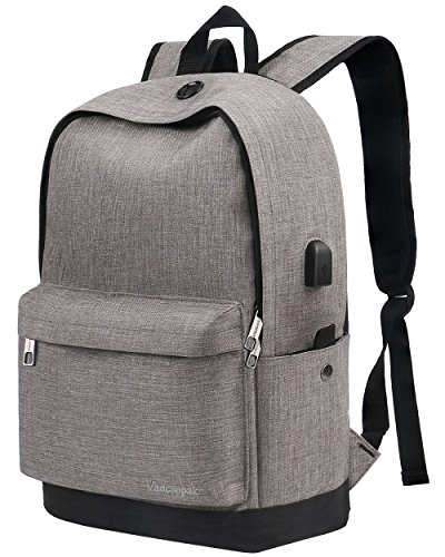 Backpack, Water Resistant School Backpack with USB Charging Port for Women Men, Canvas College Student Rucksack Fits 15.6 Inch Laptop and Notebook, Daypack for Travel Outdoor Camping - Grey -