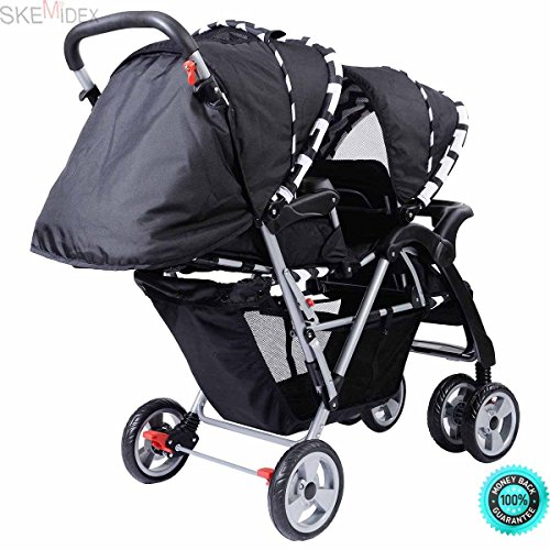SKEMiDEX---Foldable Twin Baby Double Stroller Kids Jogger Travel Infant Pushchair Black Simple Assembly is required according to the included instruction.Please consider the weight capacity