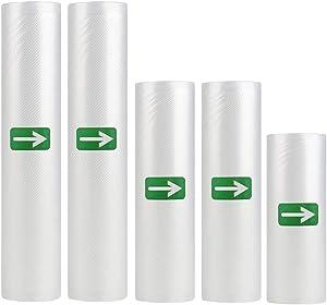 Vacuum Seal Bags Rolls, Vacuum Sealer Bags Food saver Bags Rolls for Meal Prep or Sous Vide, Make Custom Sized BPA-free Vac Sealers Food Bags(5 Rolls 6