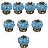 Get Orange 8 pcs Pumpkin Ceramic Door Knobs Drawer Pull Handle Cabinet Cupboard Wardrobe Pull Knobs Handle (blue)