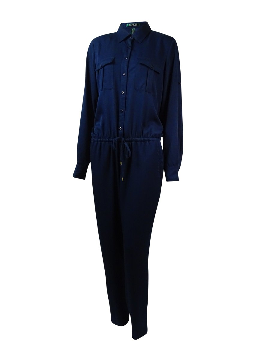 RALPH LAUREN Lauren Women's Multi-Pocket Drawstring Jumpsuit (6, Blue)