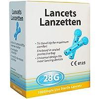 Lancetas Esteriles 28G 100 unidades (Glucosa, Colesterol, tests rápidos..)