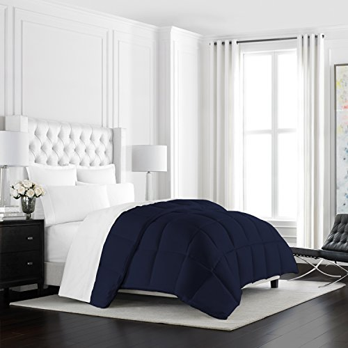 Beckham Hotel Collection Heavyweight Goose Down Alternative Comforter - Hotel Quality Luxury Hypoallergenic Duvet Insert - Warm Winter Comforter - King/Cal King - Navy (Warm Comforter)