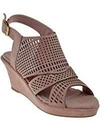 Jessie 20K Little Girls Cut Out Peep Toe Wedge Sandals