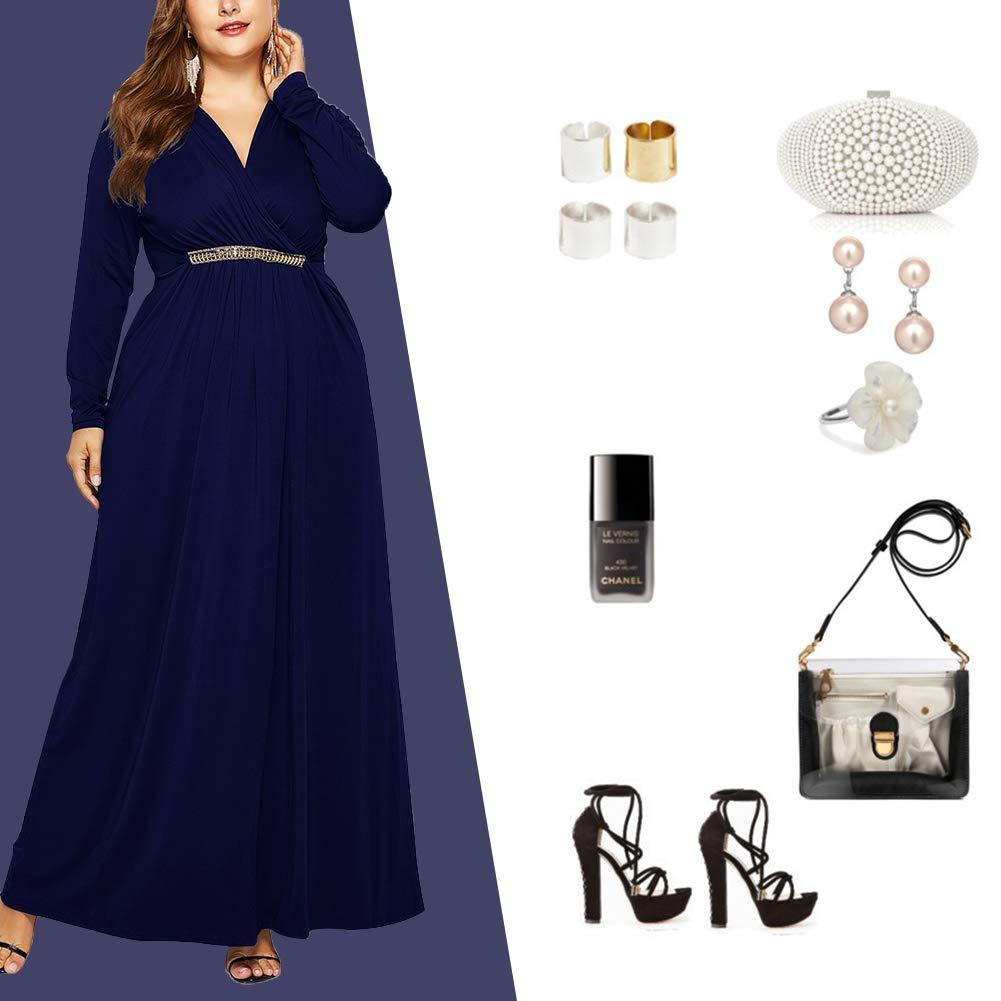 FeelinGirl Womens Maxi Dress Large Size High Waist Belt Evening Gowns Elegant Skirt with Long Sleeves